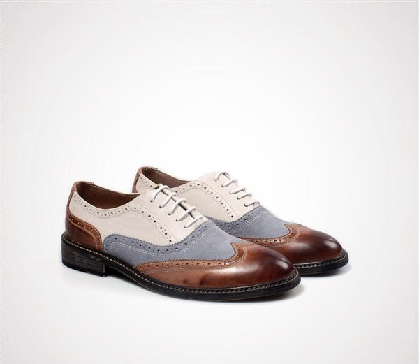Brogue Shoes Men Lace Up Genuine Leather Mix Colour Dress Shoes Smart Casual Vintage Patchwork Carve Brogue Height Increasing Mens Sandals Mens