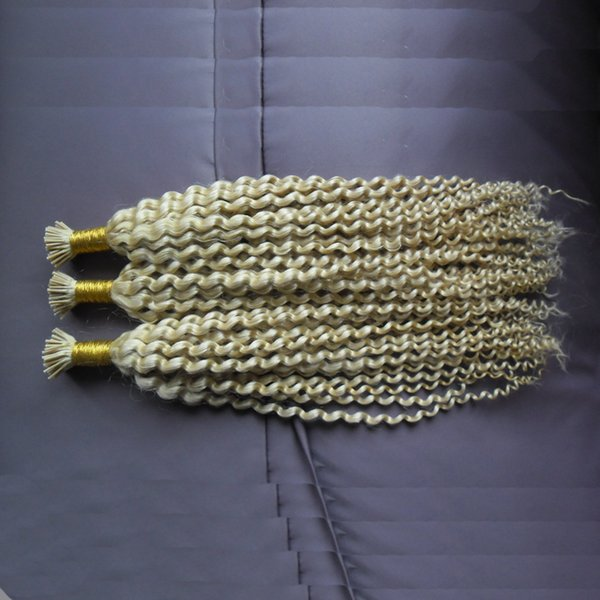 613 blonde Remy I Tip Human Hair Extension Kinky Curly Keratin Pre Bonded Hair Extension 300g 300s