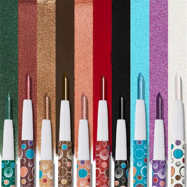 2018 HUAMIANLI 10 color eyeshadow pen single Shimmer Matte Eye Shadow Pencil Waterproof Eyes Makeup Set Cosmetics Pigment Glitter Eyeshadow