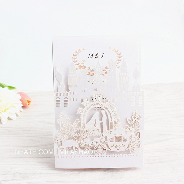 Pop Up Wedding Invitation Card Royal Weeding Engagement Invite Laser Cutting Blue Pink White Free Ship Surprise Birthday Invitations Traditional