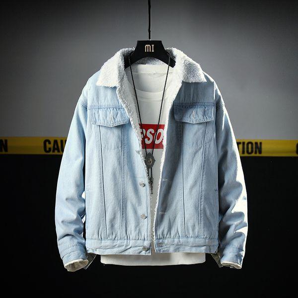 New  winter denim jackets men warm velvet thick jacket mens solid fashion autumn clothing coat dropshipping chaqueta jas
