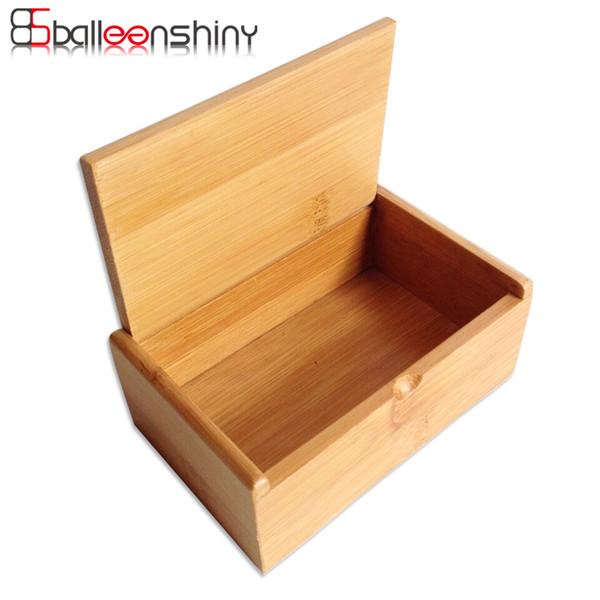 BalleenShiny Caixa De Armazenamento De Madeira Cotonete Organizador De Bambu Natural Artesanato Caso Jóias Titular