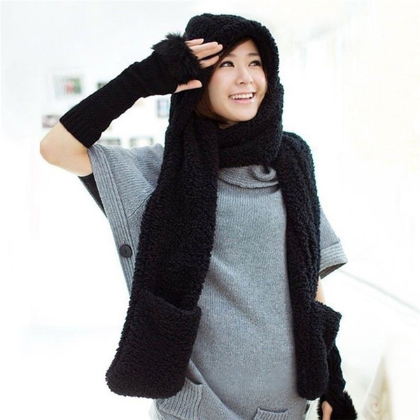 2018 Winter Scarf And Hat For Women Faux Fur Caps Thick Warm Fleece Ladies Beanies Long Scarves And Gloves Set With Pockets