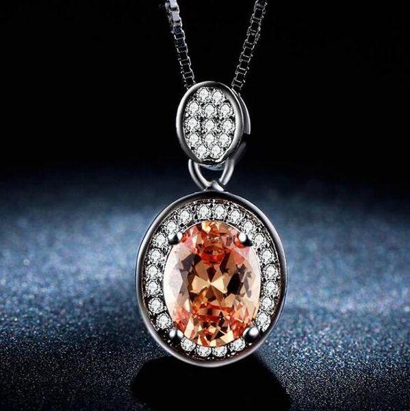 ZHF bijoux collier de pierre rouge brillant bijoux pendentif collier femmes cz diamant blanc 585 doré accessoires de mariage robe design