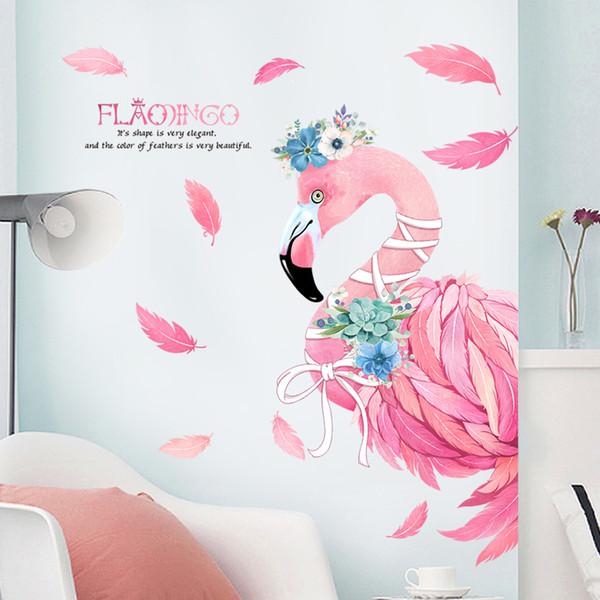 Adesivi economici Adesivi murali decorativi fenicotteri rosa romantici Decorazioni per la casa Soggiorno Adesivi murali moderni animali in PVC fai da te Camera da letto Art Poster