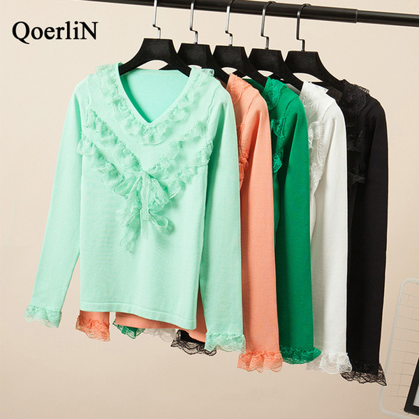 QoerliN Fashion V-Neck Lace Patchwork Womens Jumpers Winter Woman Sweater Knitting Pullovers Long Sleeve Solid Basic Tops Girls
