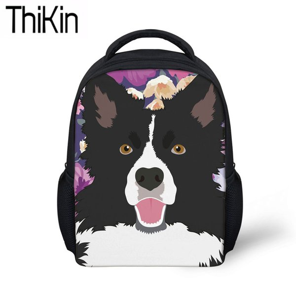 THIKIN Baby Mini Backpacks for Kids Kindergarten School Bags Children Border Collie Printing Schoolbag Backpack Girls Satchel