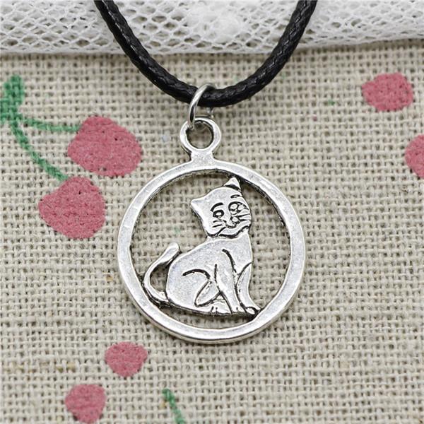 Creative Fashion Antique Silver Pendant cat 19*19mm Necklace Choker Charm Black Leather Cord Handmade Jewlery