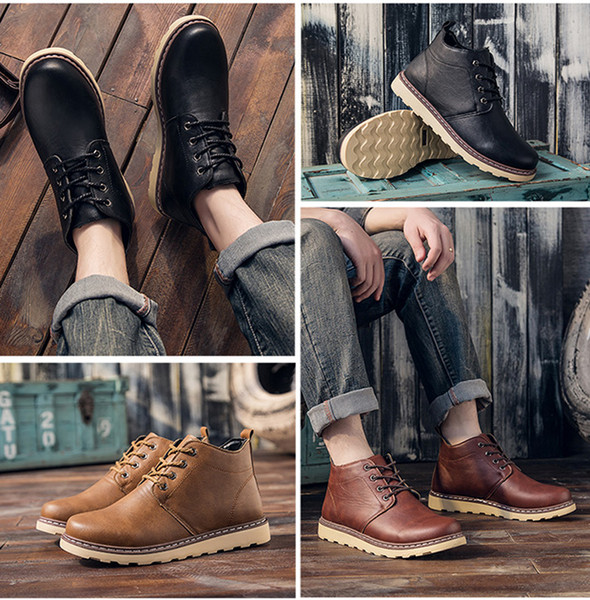 Men Classic Martin Boots Leather Snow High Top Sneakers Casual Ankle Boots Ankle Hiking Boots Outdoor Lace-up Shoes Fashion Cowboy