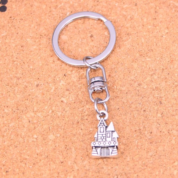 New Fashion Keychain 21*11mm castle house Pendants DIY Men Jewelry Car Key Chain Ring Holder Souvenir For Gift