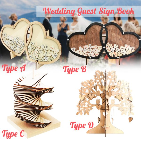 Wedding Guest Book Tree Wooden Hearts Rustic Visit Signature Sign Book Ornaments for Wedding Party Craft Decoration Supplies