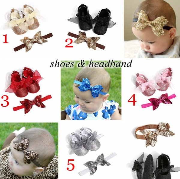 best selling 5colors NEw baby Shoes 2pc set infant sequins walking shoes with headband kids paillette shoes & newborn big bow headband 0-2years free ship