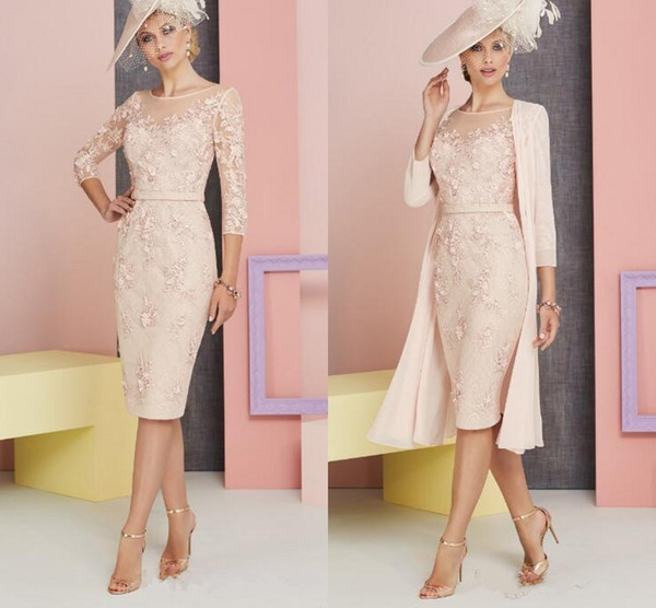 e67f286e04 Elegant Sheath Mother of the Bride Dress With Jacket Sheer Neckline 3/4  Sleeves Lace