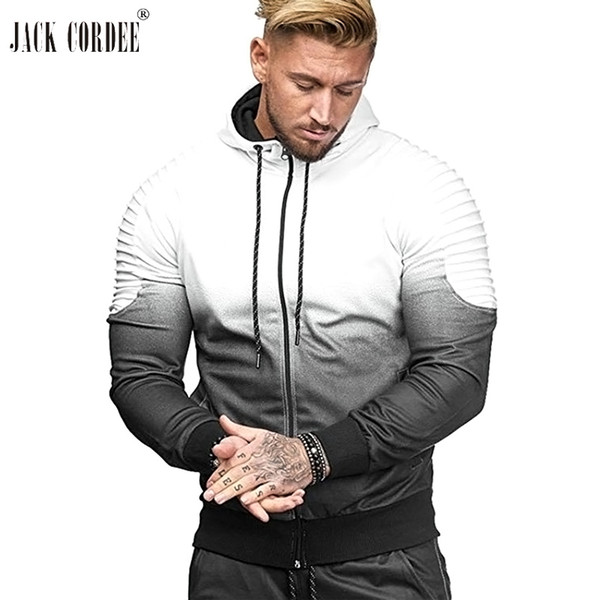 JACK CORDEE Autumn Hoodies Men Pleated Sleeve Fashion Design Hoody Slim Fit Sweatshirts Hip Hop Brand Raglan Hooded Jacket Coat