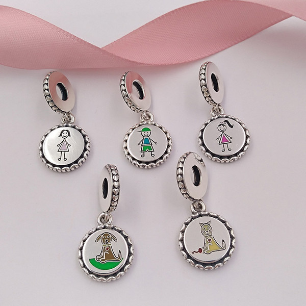 best selling Family Collection 925 Sterling Silver Stick Figure Charms include Mom Boy Girl Dog and Cat Fit European Pandora Style Bracelets & Necklace
