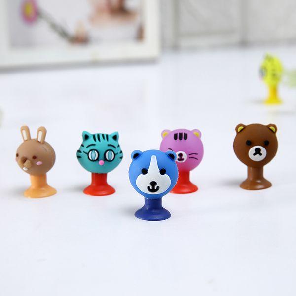 top popular Cartoon Cute Animals Bear Cat Rabbit Sucker Toys PVC Action Figure Model Pencil Topper Toys Gifts For Kids 2019