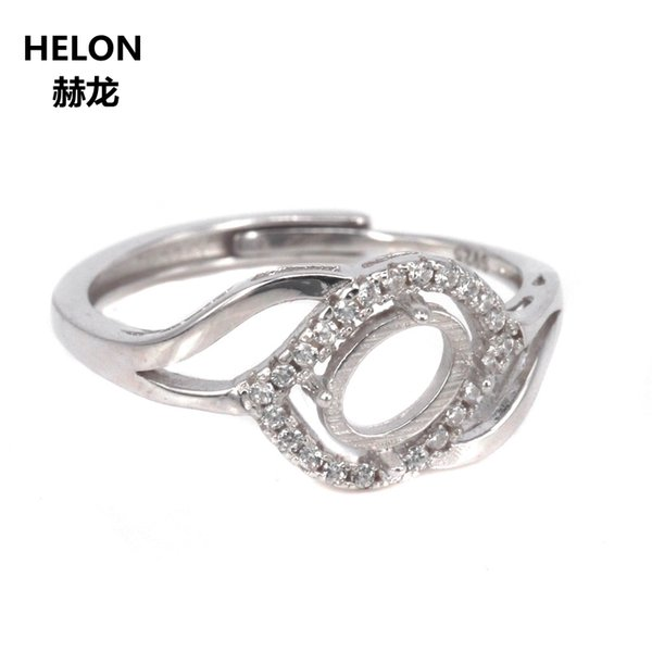 10pcs/lot Wholesale 925 Sterling Silver Women Engagement Wedding Ring Crystal 7x5mm Oval Cabochon Semi Mount Ring Setting
