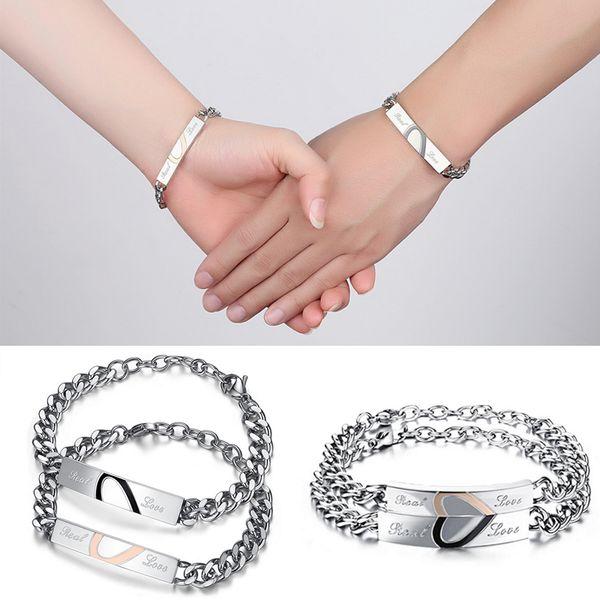 1PC Fashion Two Colors Couple Bracelet Stainless Steel Jigsaw Puzzle Lovers Bracelet Heart Bracelets Bangles For Man Woman