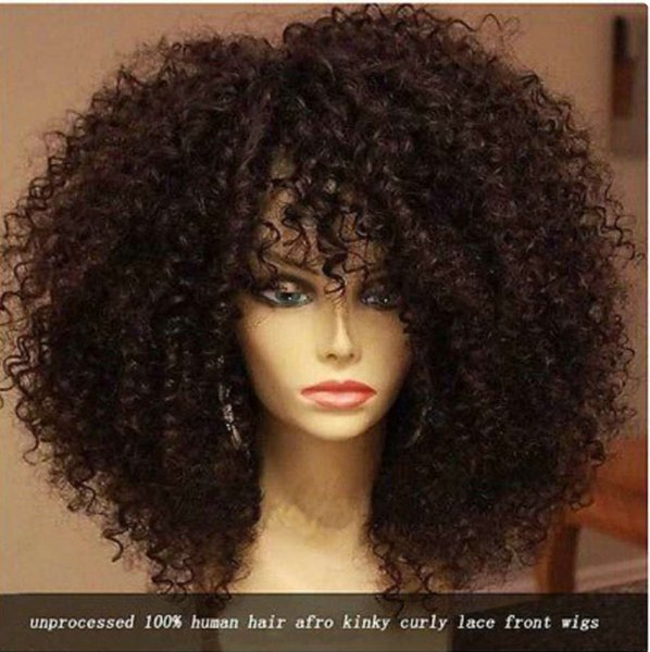 100% human hair afro kinky curly 180% 250% Density Lace Front Wig Curly Hair Wig for Black Women 18inch free ship