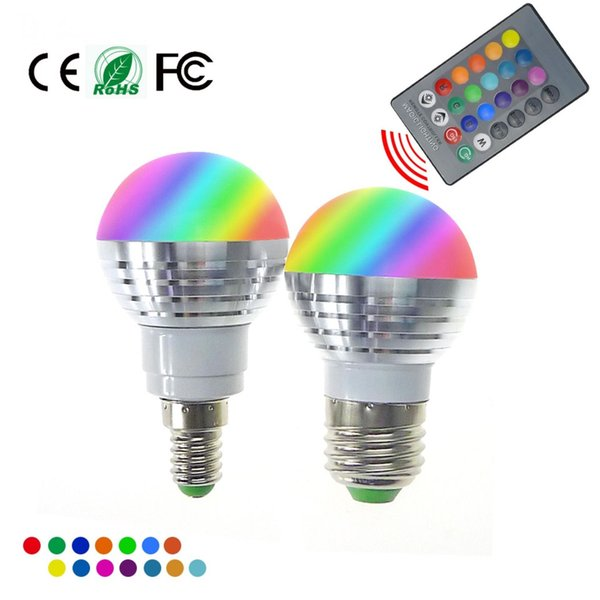 rgbw (rgb + white) e27 e26 e14 bombillas led luz 5w rgb led luces para iluminación navideña + control remoto ir
