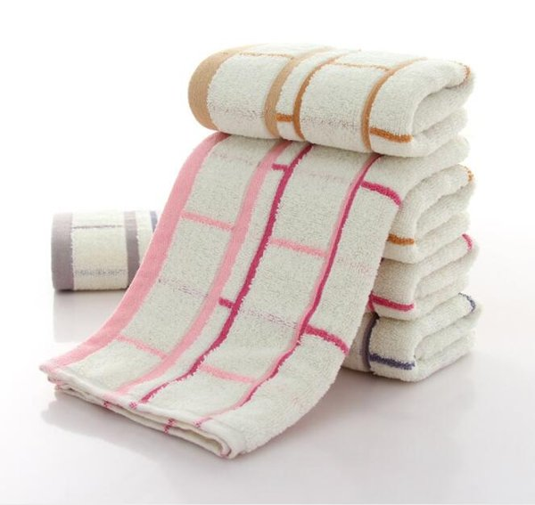 New Fashion Soft Washcloth Plaid Cotton Bath Towel Water Absorbing Face Quick Dry Towel Bathoom Home Accessory