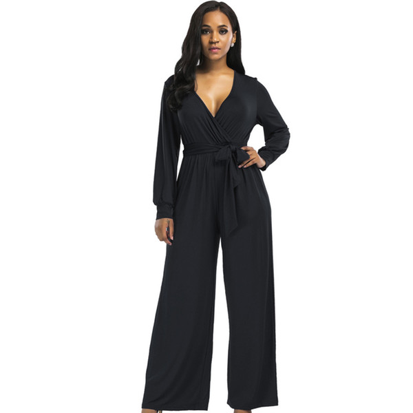 3939397dc Plus size sexy v neck wide leg long pant women jumpsuit romper 2018 long  sleeve tunic party with belt elastic fashion overalls