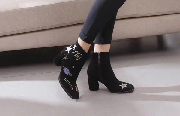 New 2018 Star Boots for women 6.5cm High Heels Square toe Ankle Fashion Boots Female