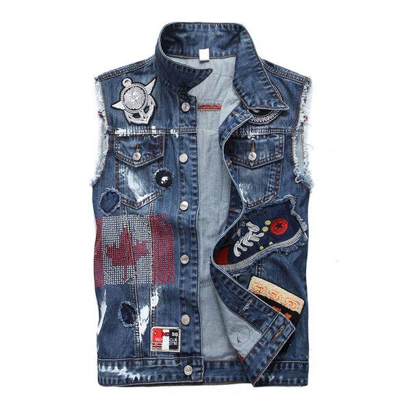 Men's Slim Denim Vest Patches Outerwear Motorcycle Biker Slim Waistcoat Sleeveless Vest Hip Hop Streetwear Denim Jacket Men Clothes Teens