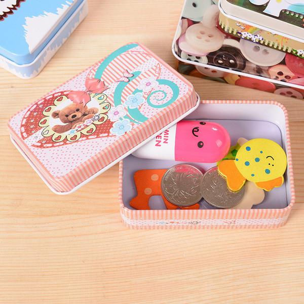 Wome mini Cosmetic Cartoon Metal Storage Box Home Sundries Metal Bins Storage Box Case Organizer For Money Coins Candy Keys