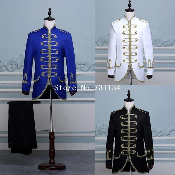 Azul / Negro / Blanco Traje de Hamilton del siglo XVIII Traje barroco Royal Gentleman's Suit Colonial Military Patriot Uniform