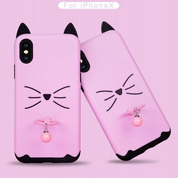 Cute Handy Shell Fall Ständer Koffer Katze Ohren Glocke Boutique kreative Muster für Telefon X 8 7 plus TPU PC 192