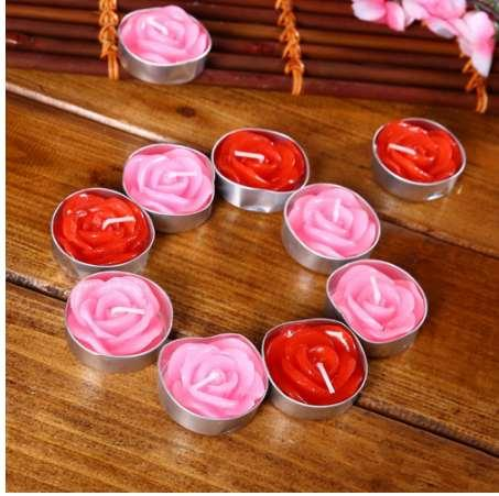 12pcs/set Rose Design Candles Valentine's Day Delicate Boxed Red Pink Rose Romantic Wedding Marriage Proposal Tea Candles