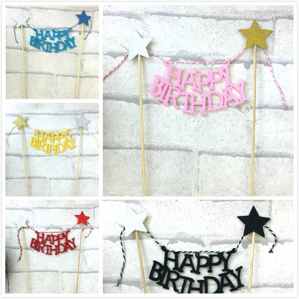 Cake Decorating Flag Tools Insert Card Happy Birthday Party For Home Garden Event Paper Supplies Creative 1 5hw BW