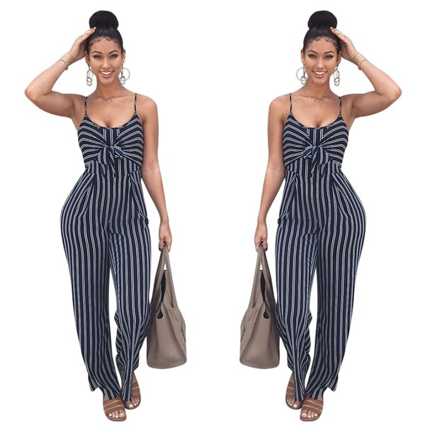 3338d92bae Elegant Striped Sexy Spaghetti Strap Rompers Womens Jumpsuit Sleeveless  Backless Bow Casual Wide legs Jumpsuits Leotard Overalls K8326