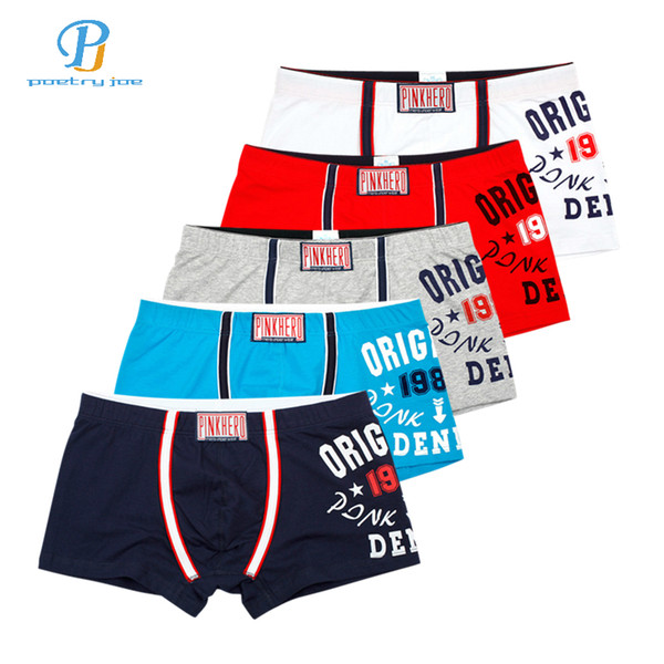 Heroes 5pcs / lot Pink Men Underwear Boxers Sexy Cotton Printed Boxer Mens Underwear Half A Pack Men Cotton Shorts Boxer