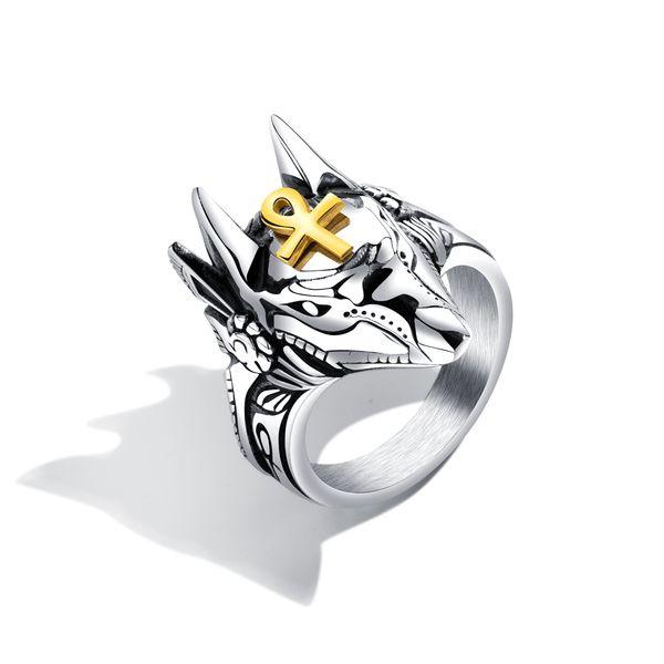 Punk Anubis Egyptian Cross Beast Ring For Men Stainless Steel Ankh Cross Design Motorcycle Finger Ring Cool Jewelry Gift GJ626