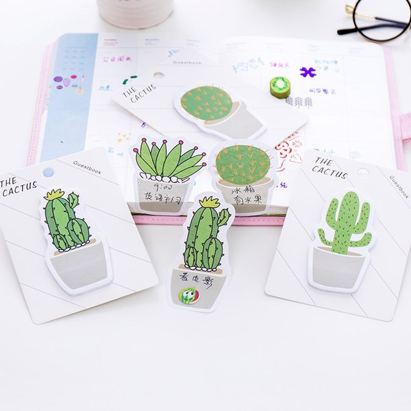 top popular Cute Cactus Memo Pad Sticky Note Sticker Memo Book Note Paper N Stickers Stationery Office Accessories School Supplies 672 2020