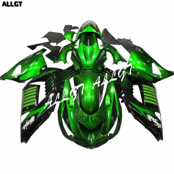 Glossy Green Motorcycle Fairing Kit para Kawasaki Ninja ZX14 ZX14R ZZR1400 2006 2007 2008 2009 2010 2011 Parte de la carrocería