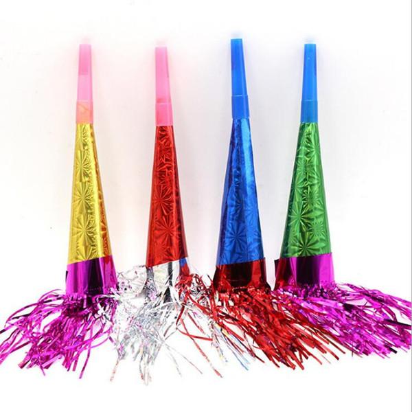 50PCS Corne colorée Tassel papier Whistle bruit Maker enfants sac-cadeau de remplissage Jouets de Noël de fête d'anniversaire Favors