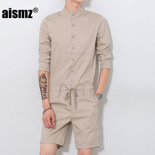 Aismz Summer Unique Romper Men Shirt Short Sets Single Breasted Jumpsuit Overalls Tracksuit Casual Cargo Pants Slim Straight
