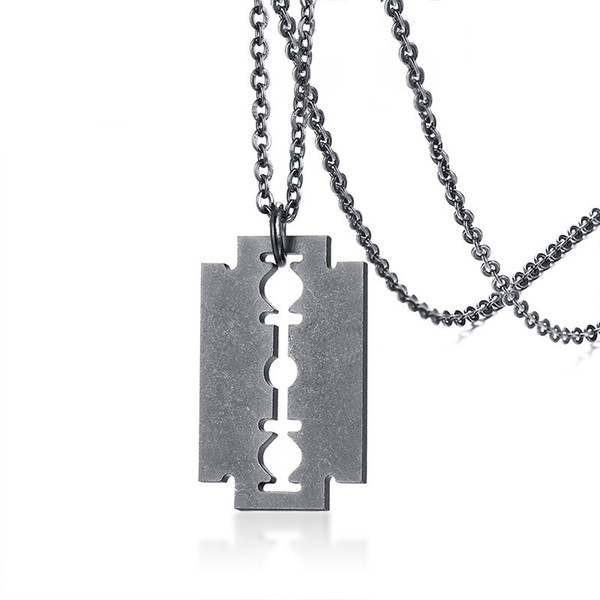"Punk Shaver Shape Mens Pendants Necklaces With Chain 24"" Cool Retro Stainless Steel Razor Blades Statement Necklaces for Men Jewelry"