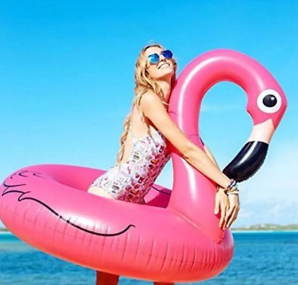 Inflatable Flamingo Pool Float Toys 90cm Kids Swimming Ring Circle Party Decoration Beach Water Party toy FFA159