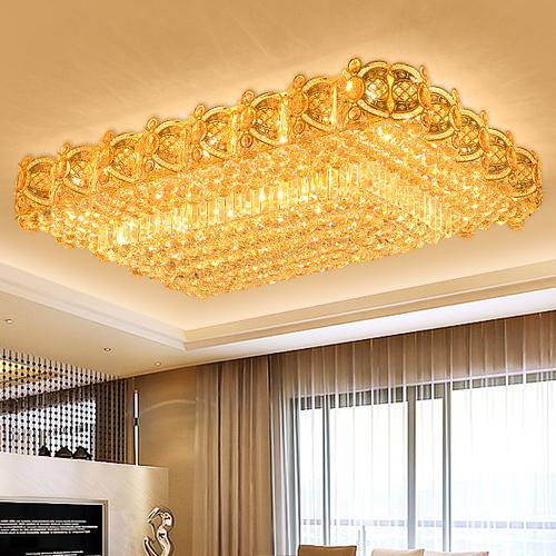 LED crystal chandeliers noble elegant luxury rectagle high class K9 crystal chandelier hotel lobby villa led pendant chandeliers with bulbs