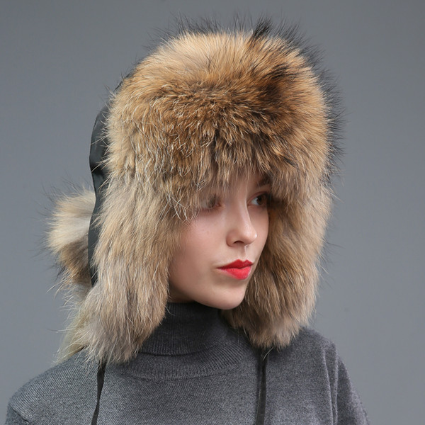 New Style Winter Genuine Real Fox Fur Hat Women 100% Natural Real Fox Fur Cap 2018 Quality Warm Russia Bomber Caps