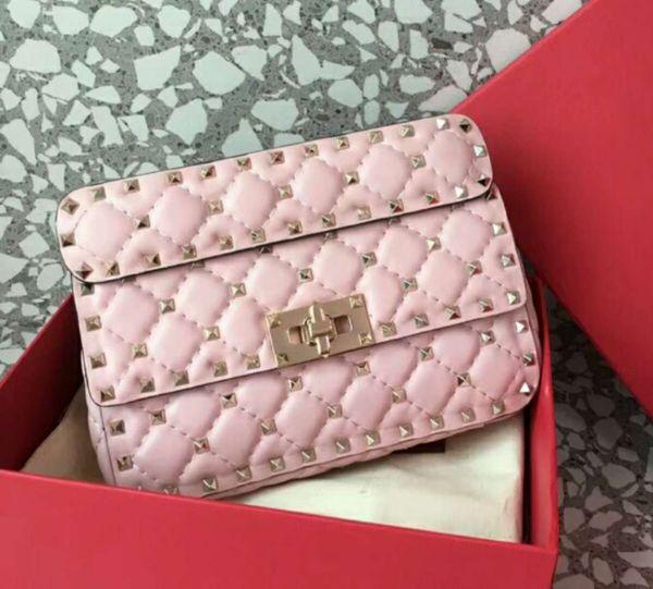 2018 new genuine leather high fashion handbag diamond lattice metallic full starts evening small bag detachable strap women cluth bag OL20cm