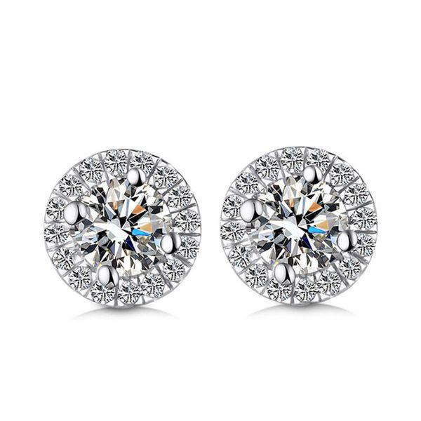 9K, 14K, 18K Grupo de forma redonda de montante dorado Configuración D / F Color VVS Clarity Lab Diamante Moissanite Pendiente de piedra Hermosa para siempre Brillante