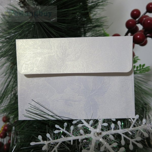 50pcs White Floral Embossed Emvelope Invitation Gift Envelopes