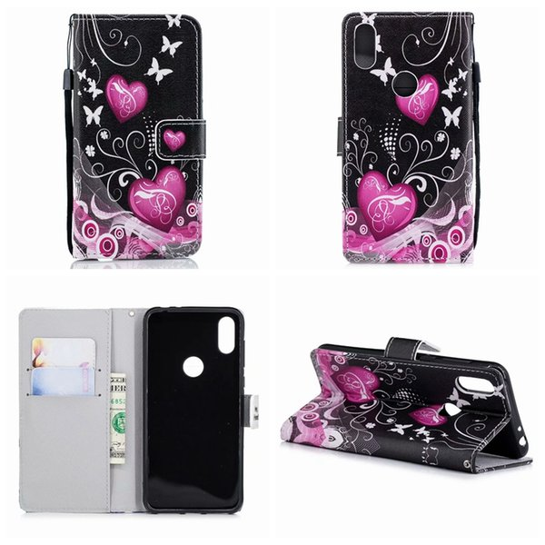 Heart Wallet Leather For Iphone XR XS MAX X XS Redmi NOTE 6 PRO Huawei Mate 20 Lite Pro Butterfly Flower Eiffel Tower Skull Love Case Luxury