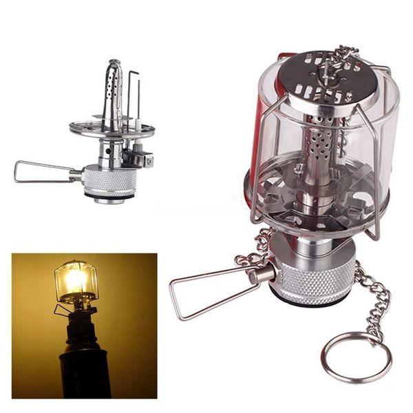 Mini Camping Lantern Gas Light Portable Tent Glass Lamp Butane 80LUX Light BL