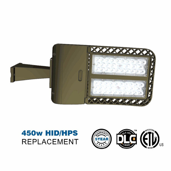 Arm mounted 100W 150W 200W LED Parking Lot Lights Photocell LED Shoebox Pole Light HID/HPS Replacement Outdoor Area Street Security Lighting